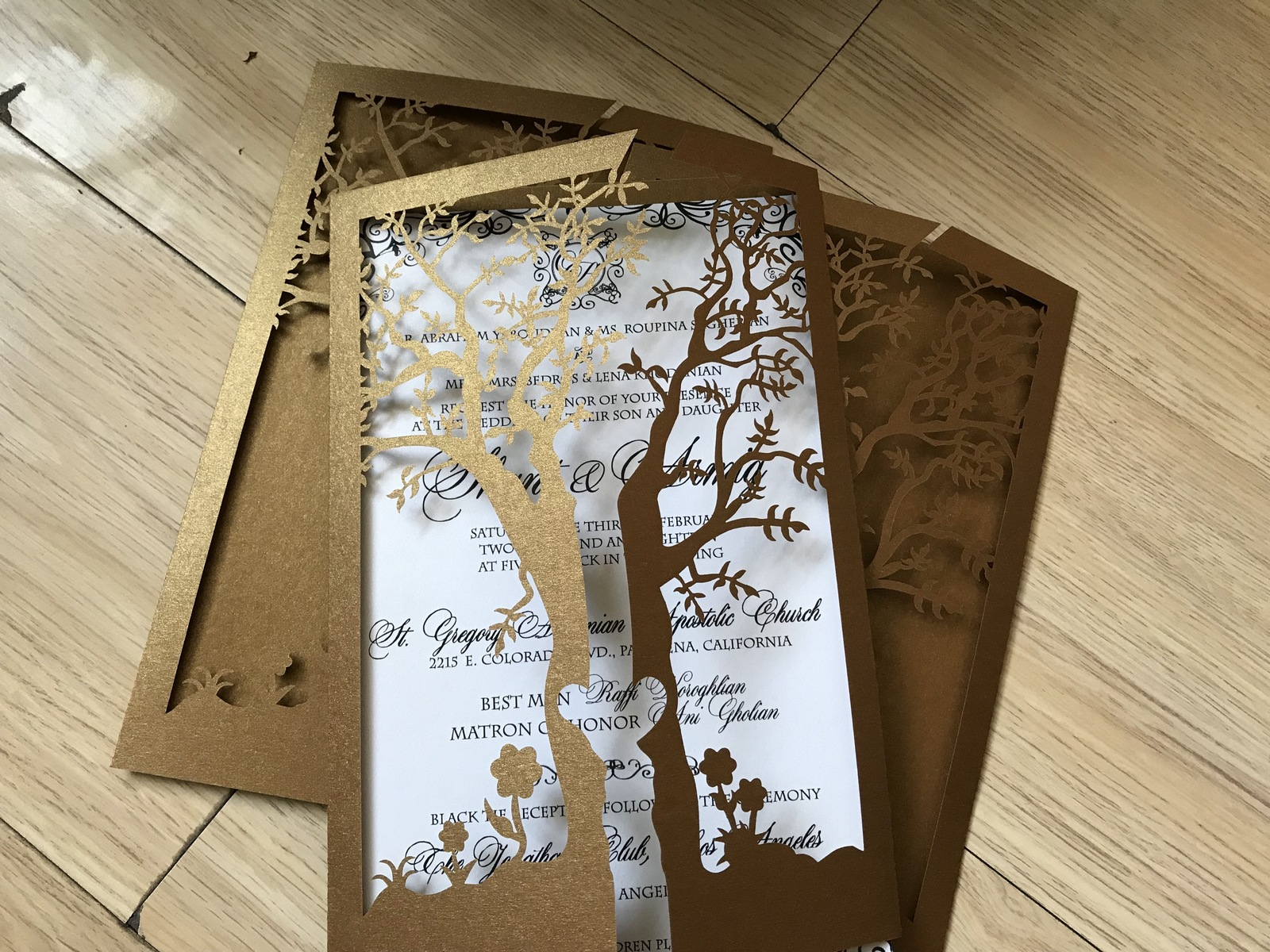 Tree Wedding Invitation,Brown Wedding Invitation Card,50pcs Laser Cut Invite