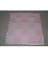 Starting Out Pink Plush Minky Dot Squares Satin Baby Girl Security Blanket Lovey - $18.21