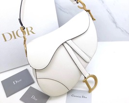 BRAND NEW Authentic Christian Dior White Saddle Trotter Leather Shoulder Bag  image 3