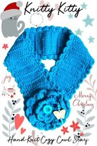 Blue Heart-Warming Woolen Cowl Hand-Knit Scarf With Faux Pearls - $19.99