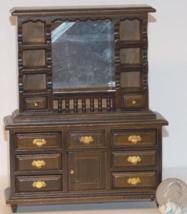 1 Pcs Walnut Dresser with Mirror Dollhouse Miniature Wood 1:12 one in sc... - $42.00