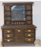 1 Pcs Walnut Dresser with Mirror Dollhouse Miniature Wood 1:12 one in sc... - $42.00
