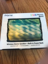 iHome Color Changing Wireless Stereo Speaker Built-in Poser Bank Ships N 24h - $32.65