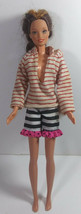 Vintage Barbie Doll Clothing Outfit Mattel Striped Hoodie Top Shorts Mul... - $4.99