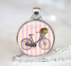 BICYCLE Necklace Pendant Jewelry or Keychain Shabby Pink Cottage Flowers... - $11.95