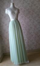 LIGHT GREEN Full Length Maxi Tulle Skirt Green Wedding Bridesmaid Tulle Skirts image 4