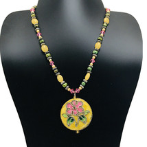 Spring Beaded Necklace Enamel Floral Pendant Yellow Green Pink Toggle Unique - $21.78