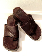 "AE American Eagle sz 6 Brown Leather Sandal Flip Flops 2"" Heels Slip on ... - $35.00"
