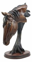 "Ebros Cavalier Wild Stallion Horse Bust Sculpture 12.5"" Tall Resin Decor in Faux - $32.99"