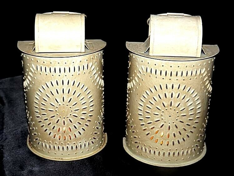 Interior Accents Metal Candle Holders with Glass AA18-1339 Vintage Pair