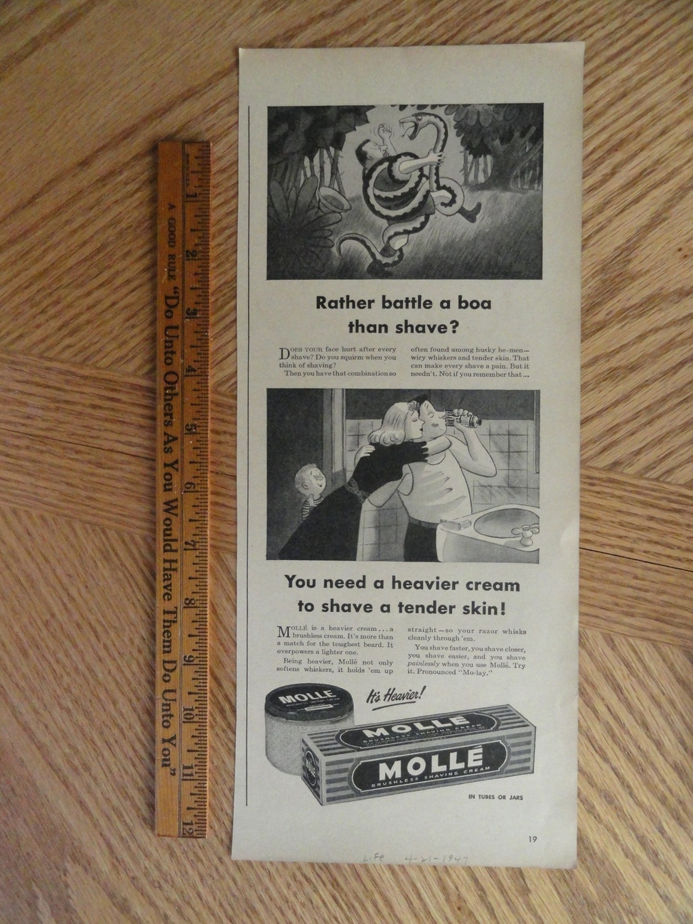 Molle brushless shaving cream 1947 magazine print Ad.   Bonanza