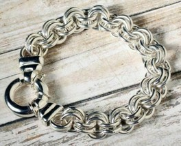 """Heavy Pure Sterling Silver 925 Solid Double Cable 8"""" Ladies Bracelet 60 ... - $186.00"""