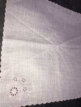 Vintage Pink Embroidered Hankerchief Hanky Floral - $8.42