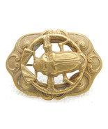 Art Nouveau Gold Tone Egyptian Revival Scarab Repousse Openwork Pin Brooch - $99.00