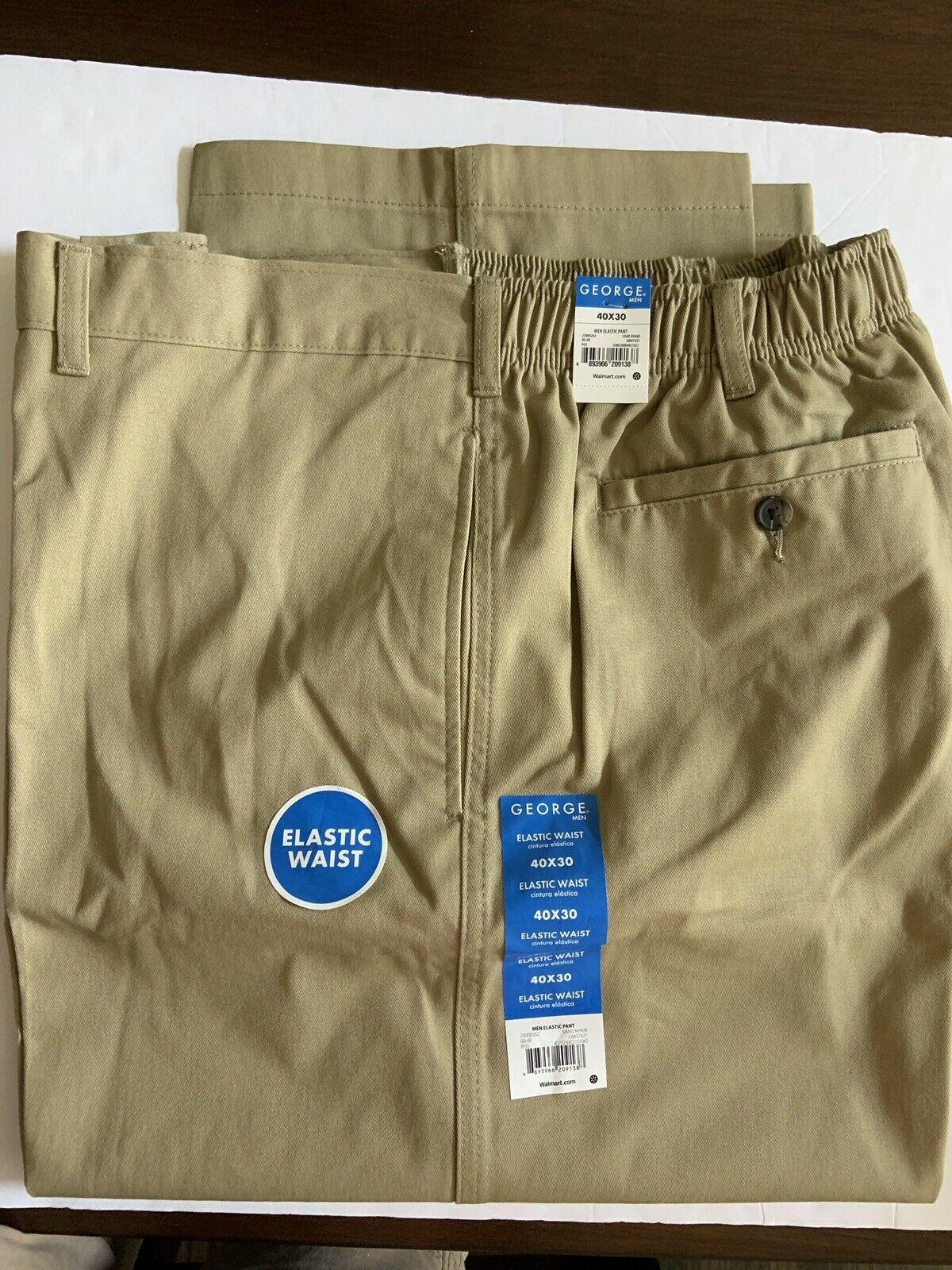 George Men's Flat Front Khakis Pant Elastic Waist Tan Various Sizes Waist 34-44