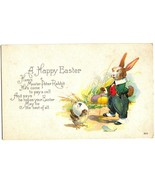 Happy Easter Vintage POSTCARD- Rabbit in Clothes - $9.00