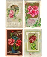 6 Gorgeous Antique Postcards, All with ROSES - $18.95