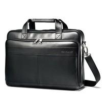 "Samsonite Leather Slim Briefcase w/ 15.6"" Laptop Pocket in Black - $77.55"