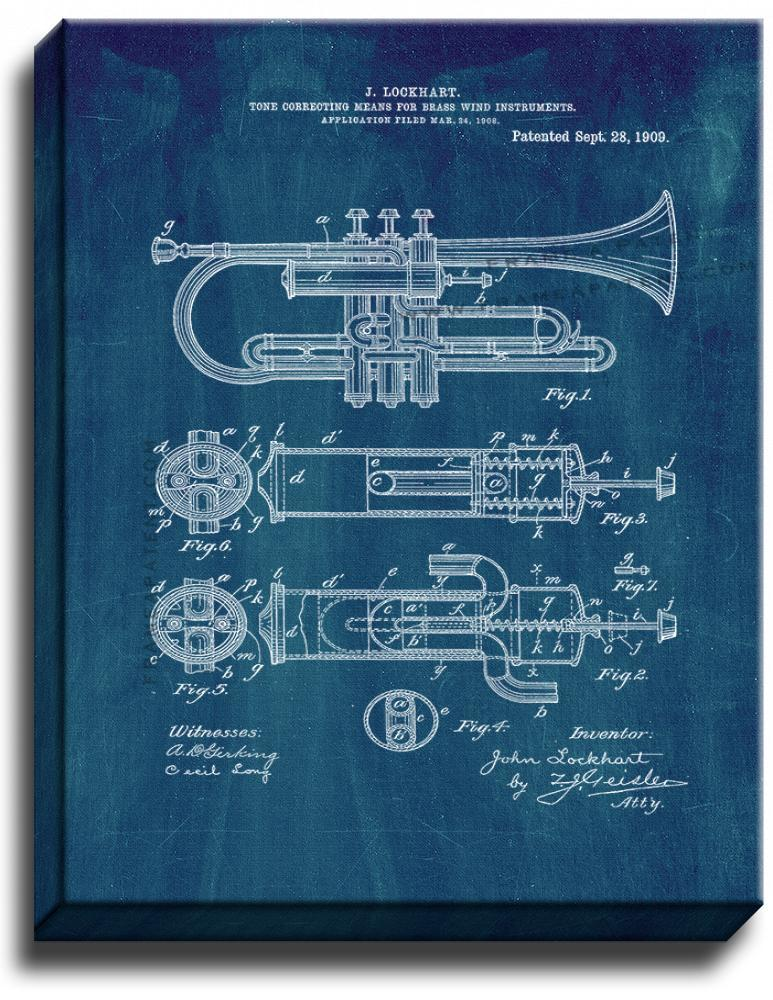 Primary image for Brass Horn Patent Print Midnight Blue on Canvas