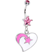 White and Pink Shooting Star Heart Dangle Belly Ring - $13.99