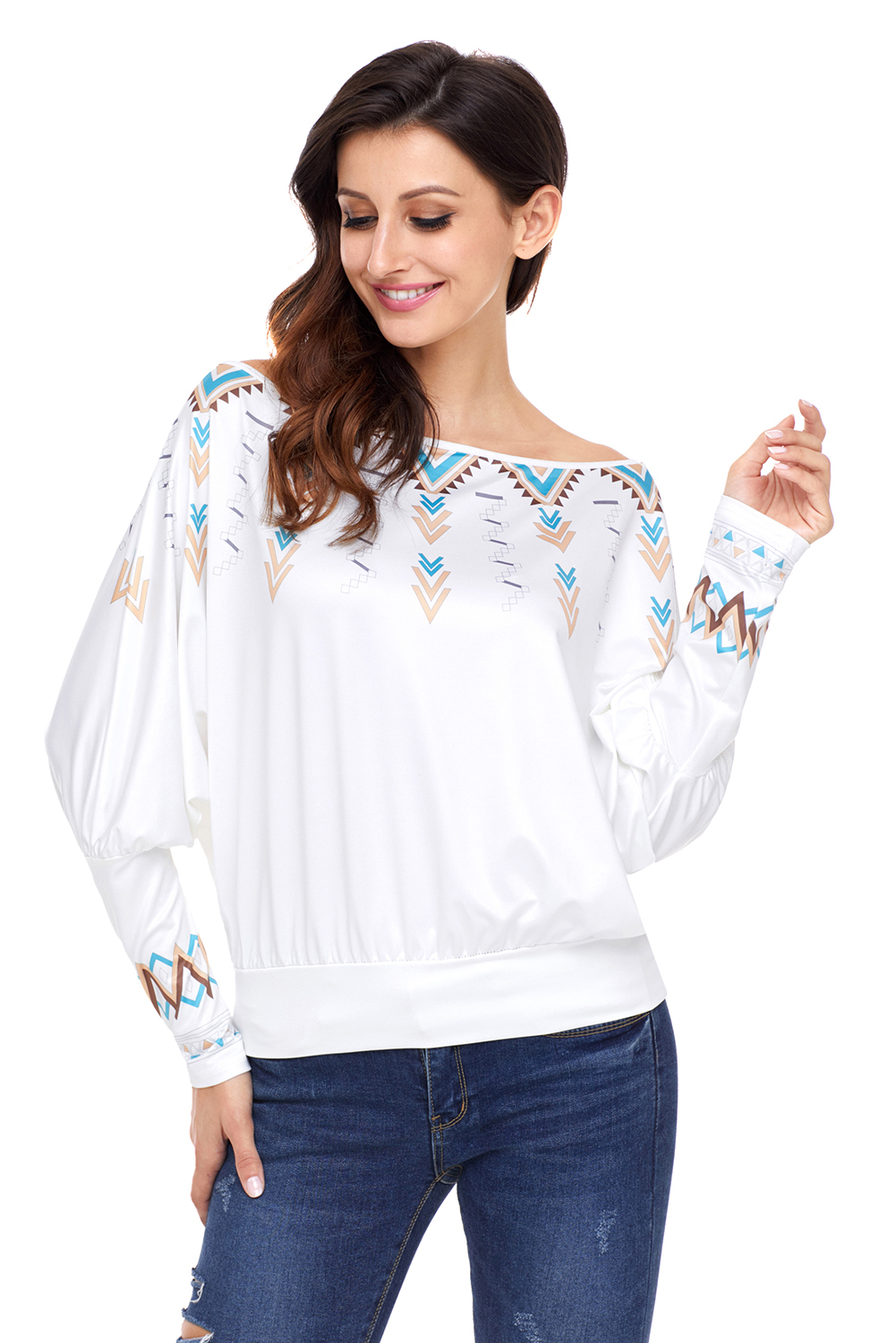 White Printed Batwing Sleeve Skew Neck Blouse