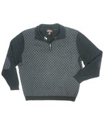 NEW TASSO ELBA BLACK GRAY ELBOW PATCH DIAMOND PRINT SWEATER SIZE XL TINY... - $33.29