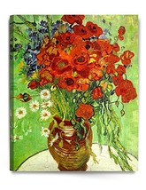 DECORARTS - Red Poppies Daisies, Vincent Van Gogh Art Reproduction. Giclee Canva