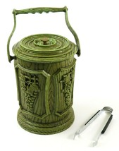 Vintage Ice Bucket, Grapes Design Plastic Woodgrain Avocado Green with H... - $19.79