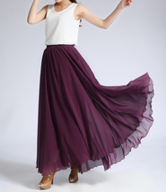 CHIFFON MAXI SKIRT Gray Black Blackberry Maxi Silk Chiffon Skirt Wedding Skirts image 4