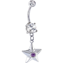 New Handcrafted Sterling Silver Star Dangle Belly Ring with Amethyst Col... - $14.99