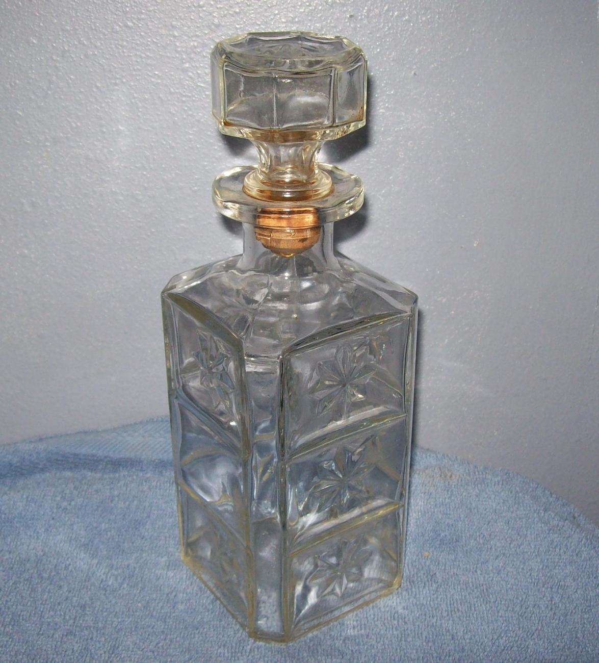 Vintage cut glass clear decanter bottle