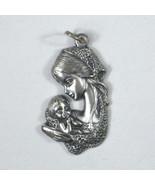 Brooch Womens Mother Child Pin Silvertone Italy 1 1/2 inch - $9.89
