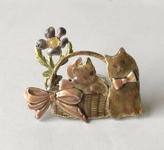 "Vintage KC Signed Enamel Kitten Cats Flower Basket Pin Brooch 2"" x 1.5"" - $12.23"