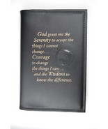 Alcoholics Anonymous AA Big Book Cover Serenity Black Medallion Chip Holder - $17.96