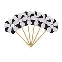 TRIXES 6PC Flicker Flower Petal Cake Toppers  Black and White  Pretty Decorative - $2.25