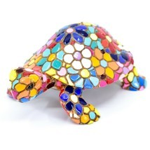 Barcino Hand Painted Limited Edition Flower Mosaic Turtle Tortoise Figur... - $438,35 MXN