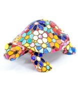 Barcino Hand Painted Limited Edition Flower Mosaic Turtle Tortoise Figur... - $441,17 MXN