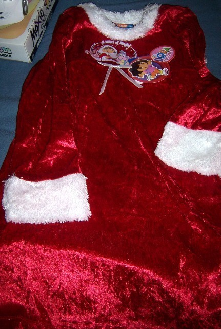 Dora Explorer Christmas Nightgown & Robe NEW Sleepwear Faux Fur Red White Trim Bonanza