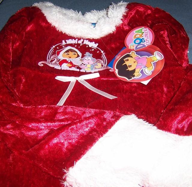 Dora Explorer Christmas Nightgown & Robe NEW Sleepwear Faux Fur Red White Trim image 2