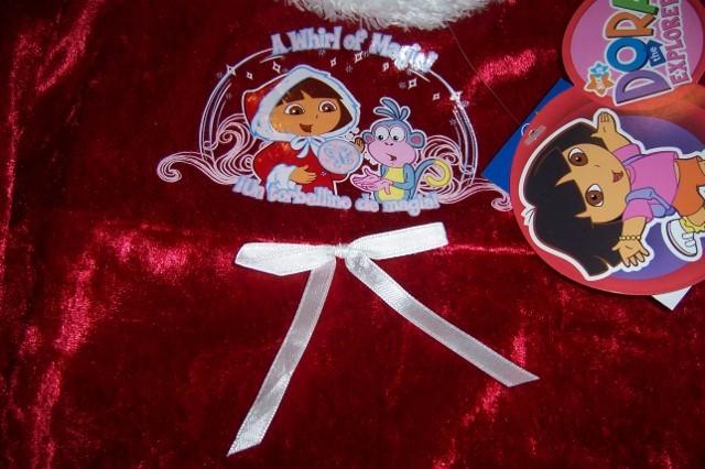 Dora Explorer Christmas Nightgown & Robe NEW Sleepwear Faux Fur Red White Trim image 3