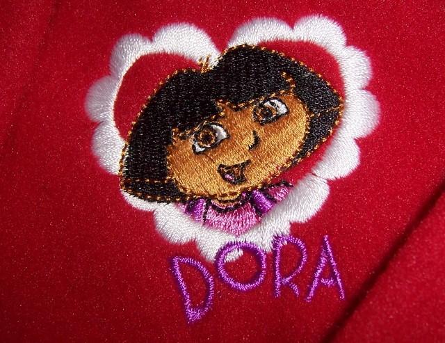 Dora Explorer Christmas Nightgown & Robe NEW Sleepwear Faux Fur Red White Trim image 4