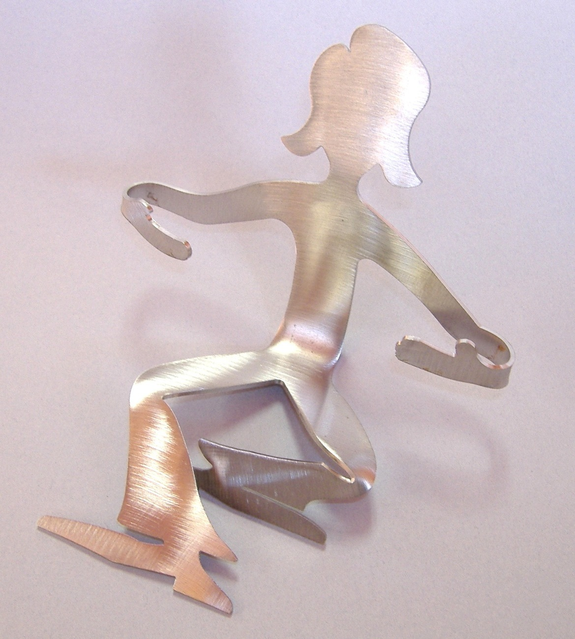 Girl Sitting Woman Business Card Holder Unique Stainless Steel Desk Accessory