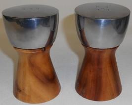Mid Century Dansk Teak Wood & Stainless/Chrome Salt & Pepper Set - $23.75