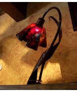 Art Glass Lazy Daisy Table Lamp by Jezebel, Hand Crafted, Azalea (Red), New - $475.00