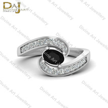 Oval Cut Black Diamond Classic Engagement Ring White Gold Wedding Ring F... - €91,47 EUR+