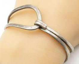 ED BRITISH 925 Silver - Vintage Minimalist Split Band Hook Cuff Bracelet... - $75.64