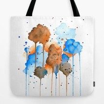 Tote bag All over print Abstract 9 blue brown watercolor art painting L.... - $26.99+