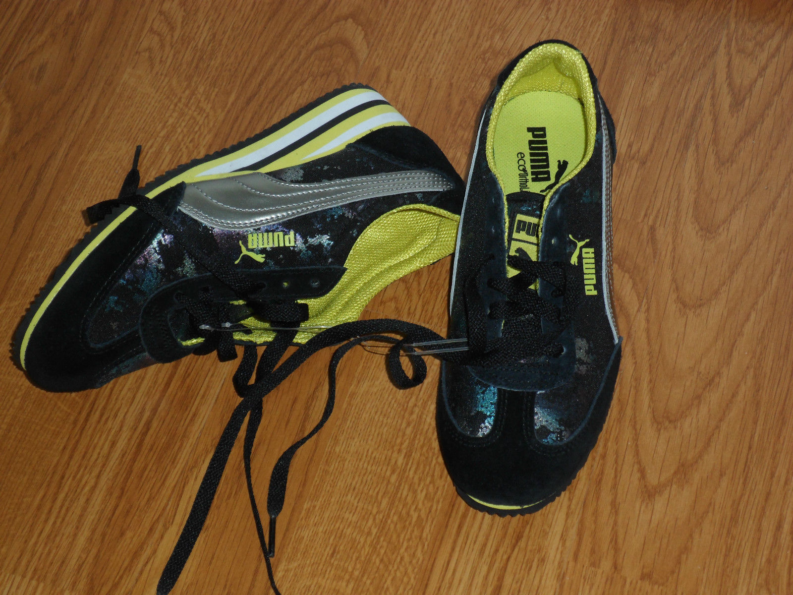 Primary image for PUMA ECO ORTHOLITE SNEAKERS SIZE 10 LADIES BLACK / YELLOW PRINT NWT