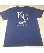 Men's Majestic Kansas City Royals Heather Blue T Shirt Medium White Logo KC - $14.69