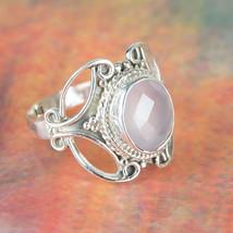 Rose Quarts Ring, Rose Quarts Bridal RIng, Pink Gemstone, Simple Cut Ros... - $43.00